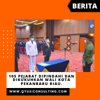 105 Pejabat Dipindahi dan Dikukuhkan Wali Kota Pekanbaru Riau.